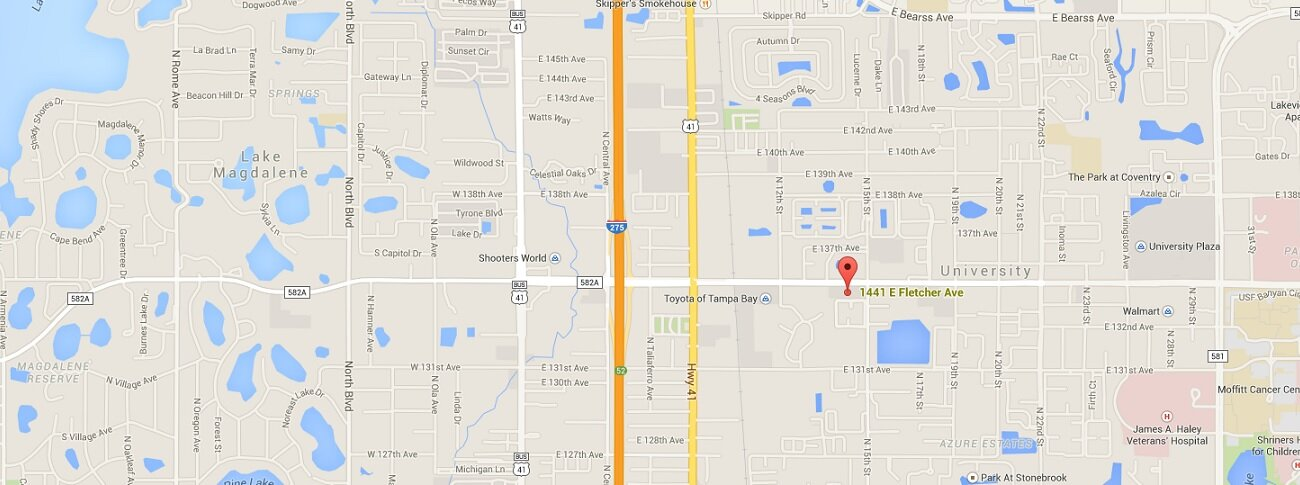 map of Colucci Insurance  1441 E. Fletcher Ave. #105 Tampa, Florida 33612 United States